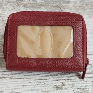 🔴NWOT Buxton Red Leather Card Holder Wallet